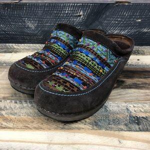 Dansko mystique slip on clogs brown suede size 41